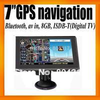 """Digital TV 7"""" Car GPS Navigation+MTK+Wince6.0+Bluetooth+AV IN+128MB/8GB+ISDB-T+Digital TV+FMT+MP3/4+Free Map"""