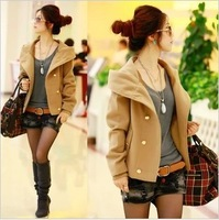 2013 autumn and winter plus size woolen outerwear short design women's thickening double breasted woolen overcoat female