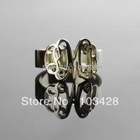 Monogram 3 Initial Ring Sterling Silver Rings Hand Cut Script   Monogrammed Rings for wemen