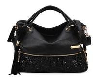 2014 new  leopard print tassel spangle women messenger bag,pu leather shoulder bag,designer handbags free shipping morer #254