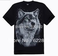 High quality 2013 Brand Summer Fashion 3d T Shirt For Men Men's casaul Cotton T shirts Man Wolf  Animal Skull T shirt Tops ee