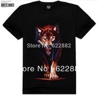 2013 new mens t shirt summer fashion  brand  3d cotton t shirts man wolf  Monsters Pattern t shirts casual shirt men