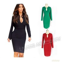 1PC Sexy Women's Stylish Keyhole Collar Long Sleeve Bodycon Stretch Pencil Dress Sheath Slim Elegant Business Party Dress 652673