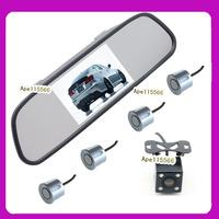 LED Night vision Driving aid camera system 4.3inch  car rear mirror monitor + parking lane hd car camera +psrking sensor 4