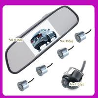 Driving aid camera system 4.3inch  car rear mirror monitor +  36 degree 100%waterproof car camera +psrking sensor 4