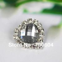 2014 1.9cm High Quality clear Heart  crystal Rhinestone Alloy Wedding Craft Garment Buttons buckle,factory supplier