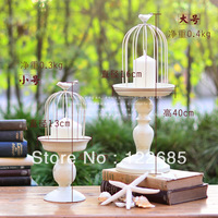 FREE SHIPPING  home decor candle holder European minimalist retro goblets do the old white wrought iron bird cage candle holder