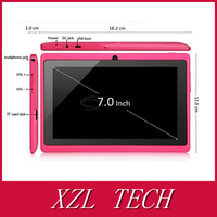 Colour Top Rated 3000mA Battery  Dual Cameras A13 7 Inch Q88 Tablet PC (can make logo )
