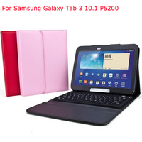 Free Shipping PU Leather Case Cover with Bluetooth Keyboard for Samsung Galaxy Tab 3 10.1 P5200