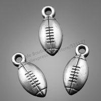 50pcs/lot 15*7mm 3 colors antique gold, antique bronze, Antique Silver Plated Football Charms