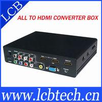 Free shipping ALL TO HDMI CONVERTER BOX 1080p support CVBS/VGA/USB/HDMI inputs