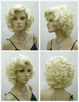 Wigiss Female Marilyn Monroe Glamorours Golden Short Wig 100% Kanekalon Fiber Synthetic women Wig/Hair H9129Z Bshow
