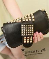 2013 new punk style rivet women clutch multipurpose small hand bag PU evening bag wholesale free shipping