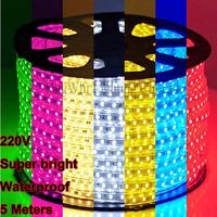 Super bright 220V SMD 5050 flexible light LED Strip led flashlight IP66 silicon tupe waterproof 60 leds/M,5 meter led roll