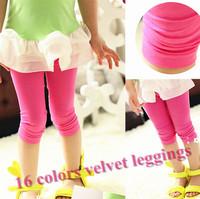 Retail 1 pcs 2013 summer children legging candy color kids capris velvet knee length trousers pants Skinny Leggings for girls
