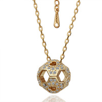 Hot Sale Ball Shaped Design Pendant Necklace Fashion Crystal Necklace 18K Gold Plate Necklace Free Shipping 18KGP N042