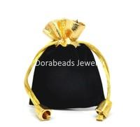 "Free Shipping! 10PCs Black Velvet Drawstring Pouches Jewelry Gift Bags 7cmx9cm(2 6/8""x3 4/8"") (B20222)"