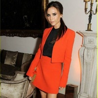 blazer+ skirt 2 pcs/lot 2013 New winter brand designer Victoria Beckham Cardigan blouse women blazer jacket skirt suit
