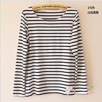 Summer and autumn fashion women tops long sleeve cotton shirt plain black t shirt women big size black and white striped shirt