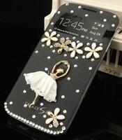 1pcs/lot Glitter S-view Flip Cover Case for Samsung Galaxy S4  i9500 Handmade Bling Rhinestones Ballet Dancer Flowers