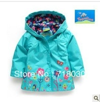 6pcs/lot(1-4Y)  Topolino full lined hooded windbreaker girls hoodie coat kids outerwear blue and pink Windproof rainproof coat