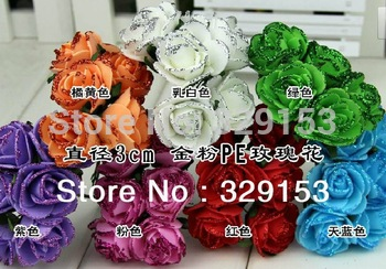 Free shipping Dia2.5-3.0cm 72pcs/bag  PE artificial rose flower and shinning  glitter /Wedding flower/ ornament foam flower