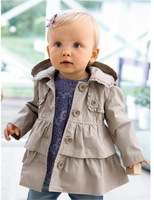 FREE SHIPPING  2014 Spring NEW BRAND AUTUMN AND WINTER GIRL DOUBLE COAT GIRLS GREY HOODED WINDBREAKER BABY OUTDOOR CLOTHE
