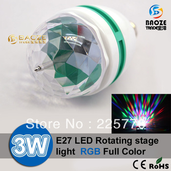 Freeshipping Retail RGB Full Color 3W E27 LED Bulb Crystal Auto Rotating Stage Effect DJ Light Bulb Mini laser Stage Light