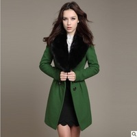Free Shipping 2013 New Pink Doll Holiday Sale Double-breasted Fur Collar Long Woolen Overcoat