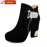 2013 boots martin boots quality velvet zipper rhinestone wedding shoes thick high-heeled snow boots plus size
