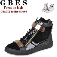 2013 new men's high help casual leather shoes GZ shoes fashion catwalk style short head layer cowhide leather boots