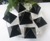 25mm Natural quartz obsidian pyramid/A+ level quality/black-B&OPO13002