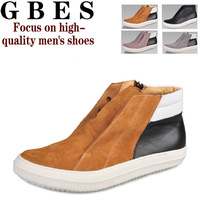 2013 new men's high help leisure horsehair leather shoes Rick Owens shoes fashion catwalk style short leather boots suede