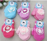 Free Shipping! 2013 Hot selling Baby Flower Gloves Full Fingers Halter-neck Cartoon Thermal Gloves