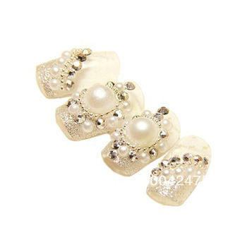 Free Shipping hot 48pcs/lot  High quality Full diamond pearl Japan style Nail decorative  Bridal Nail patch  H0794