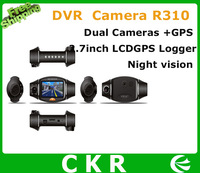 "New design Car DVR  R310 2.7"" TFT LCD Infrared Night Vision Dual Lens Camera with GPS Logger and G-Sensor"