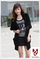 020145B New Knitted real Rabbit Fur vest waistcoat ladies' jacket  long coat cape gilet shawl design