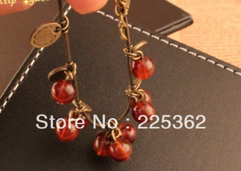 Free Shipping--(Min. Order $20 )2013 Fashion Ladie's Hot Sale Charming Cherry Bracelet Fashion Jewelry Accessories