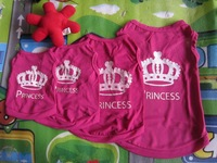 Small Pet clothing Dog CAT PUPPY Clothes T Shirt Vest Type XS S M L ROSE CROWN