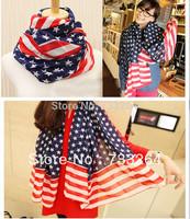 Free shipping Hot Sale Fashion USA stars stripes flag fashion elegant all-match long chiffon scarf for women lady girls scarves