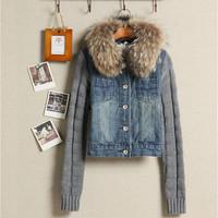 2014 large fur collar yarn sleeves denim top short jacket free shipping