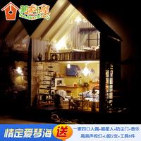 Hot sale! Scale1:12 DIY mini house 3D wooden dollhouse Luxury romantic love sea villa doll house birthday gift