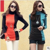 Free shipping Autumn 2014 new women's plus cashmere Turtleneck Shirt color women T-shirt bottoming shirt