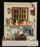 Diy wooden miniature dollhouse kits,Handmade assembling Model Building of happy breakfast time Unique Birthday Valentines gift