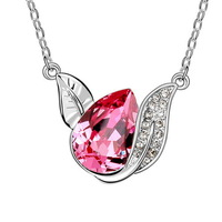 100% Guaranteed  Crystal Necklace 18K White Gold Pated Pendant Necklace Jewelry Austrian Crystal SWA Elements Wholesale