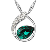 Free Shipping Wholesales 18KGP Best Gift High Quality Austrian CRYSTAL Pendant Necklace  For Women