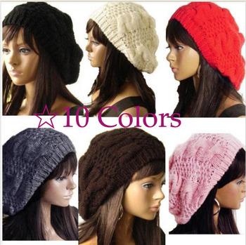 5X Free Shipping!! Hot Sale Fashion Handmade 10 Colors Warm Winter Women Beret Braided Baggy Beanie Wool Crochet Hat Ski Cap