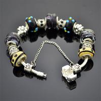 Hot Sale Promotion,2 Pieces 6% Discount, Men Jewelry European Charms Bracelets For Men, Wholesale,Black,19CM,20CM,21CM,PA007