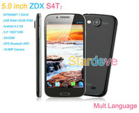 Star ZDX S4T I9500 phone Quad Core android phones Android 4.2 2GB RAM 32GB 5inch IPS MTK6589T WCDMA really 18.0MP Camera