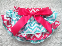 Vintage Hot Sale Baby Chiffon Bloomer Blue and White Rose Bow Chevron Satin Bloomer for Baby Girls KP-SB051